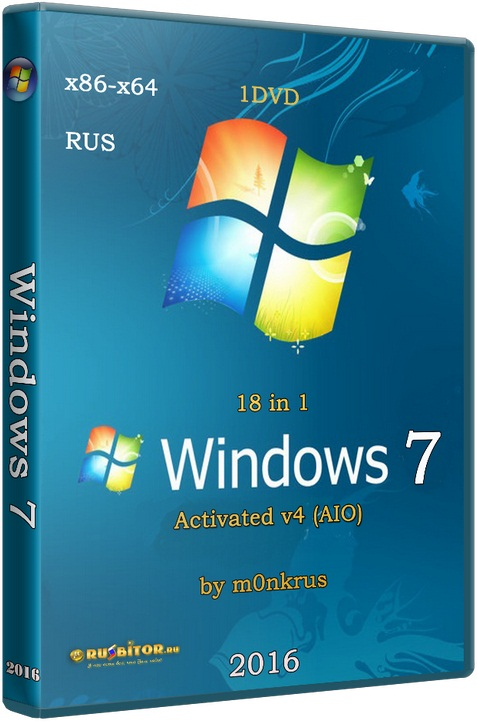 Windows 7 SP1 IE11+ RUS-ENG x86-x64 -8in1- KMS-activation v4 (AIO) [v.4] [2016]
