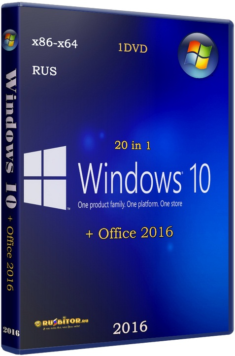 Windows 10 +/- Office 2016 20in1 [10.0.14393 Version 1607 // 02.08.16] [2016] [1DVD]